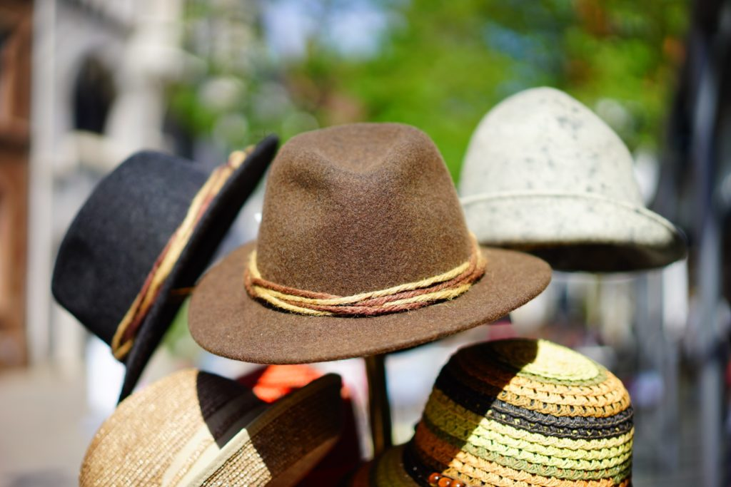 road trip travel packing list, hats